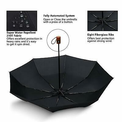 Automatic Umbrella Open Close Auto Folding Windproof Compact Travel Wide Black