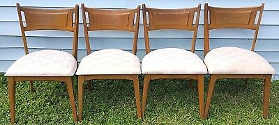 Mid Century Heywood Wakefield Vtg Set of 4 Danish Modern Maple Dining Chairs
