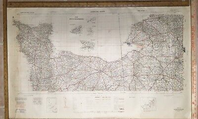 Original 1941 WWII U.S. Road Map 54 Cherbourg Rouen D-Day Invasion of Normandy