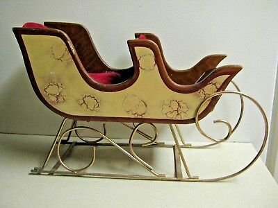 Vintage Two Seat Red Velvet Lined Wooden Sleigh Tabletop Christmas Decoration