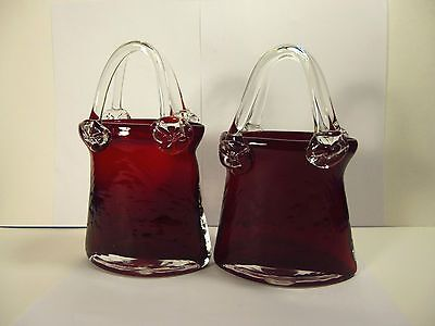 Antique Murano Handcrafted Ruby Red Art Glass Purse Vasestwo 8tall