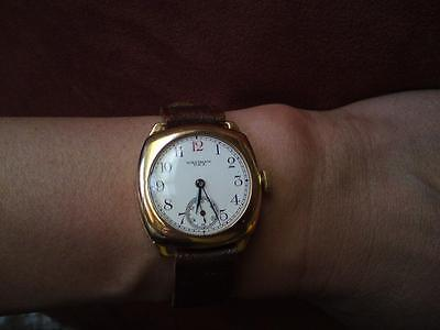 Rare Glasgow &RHJS Hallmark 1935 solid 9ct rose gold Waltham USA wristwatch