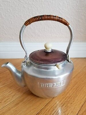 Vintage Aluminum and Copper Plated Grease Teapot with Strainer Japan