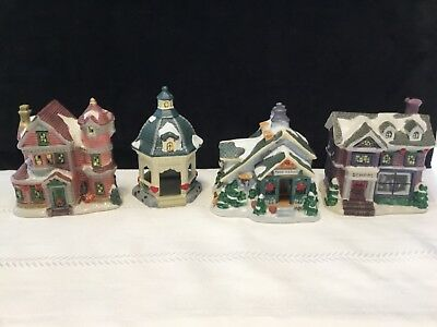 """lot of 4 Porcelain Holiday Christmas Village Houses Buildings 5"""" tall (L3)"""