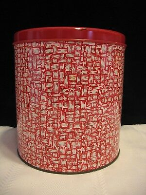 Vintage Decoware Red Basket Weave Metal Tin Canister w/ Red Cover  (D88)