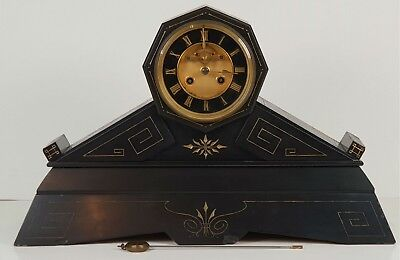 Chimney Clock. Marble Color Black. Napoleon Style Iii. France. Xix Century.