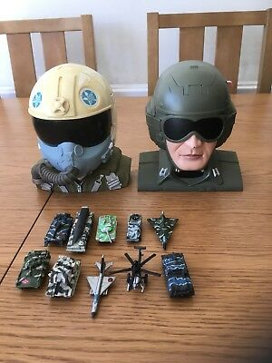 Vintage Galoob Micro Machines Jet / Bomber Pilot Play Sets Including Vehicles