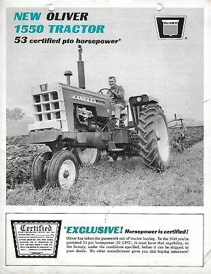 VTG 1960s NEW OLIVER 1550 TRACTOR 53 CERTIFIED PTO HORSEPOWER SALES BROCHURE