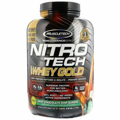 Muscletech NitroTech 100% Whey Protein Gold MINT CHOC CHIP SUNDAE 5.5lbs / 2.5kg