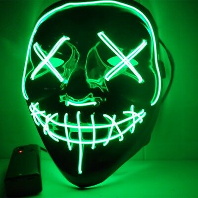 Halloween Mask LED Light Up Masks Grimace The Purge Election Year Great Festival