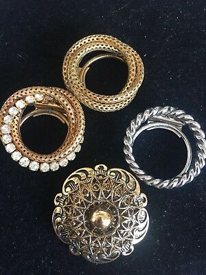 Lot of 4 Beautiful Vintage Filigree Dress Clip Scarf Shoe Clip Stamped W Germany