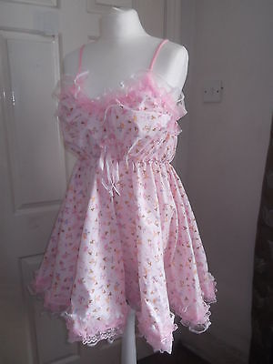 Adult Baby~Sissy~Maids~Unisex~Tv/cd Frilly Ballerina Print Babydoll~Nightie