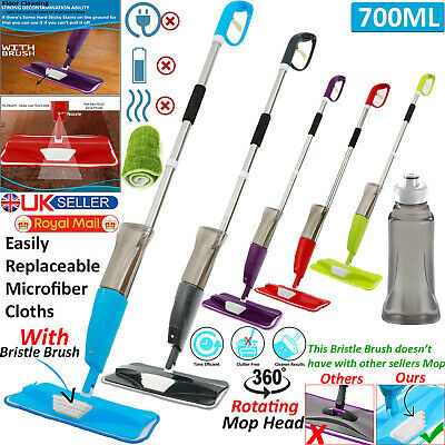 Spray Mop Wet Hard Wood Floor Tiles Cleaning Microfibre Pad Flat Cleaner 700ML.