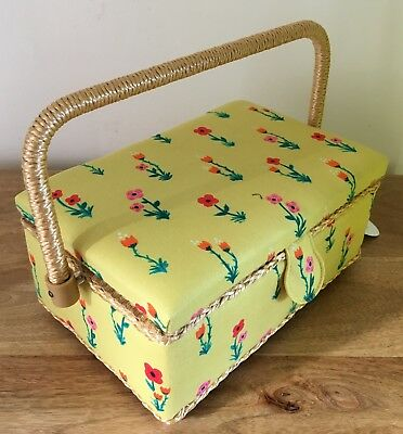 SEWING BOX BASKET Small 'MEADOW' DESIGN Deep Yellow
