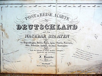1844 LARGE ANTIQUE MAP OF GERMANY and Surrounding Countries Original Case KARTE