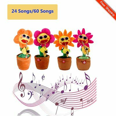 24/60 Songs Singing and Dancing Flower with Saxophone Plush Funny Electric Toy&Y