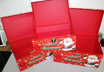 Pack of 3 Gift Boxes Xmas Happy Christmas Gift Box Santa's Special Delivery