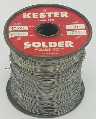 5 Lb. Kester 40/60 Rosin Filled Solder .032 Nearly Full Roll