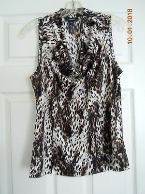 f9a7bfaaf0b1f Alfani Women s Size Large Sleeveless Blouse Satiny Animal Print Waterfall  Neck