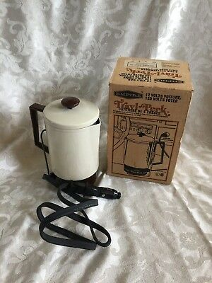 Vintage Travl-Perk 4 Cup Coffee Maker 12 Volt Almond Travel Coffee Maker