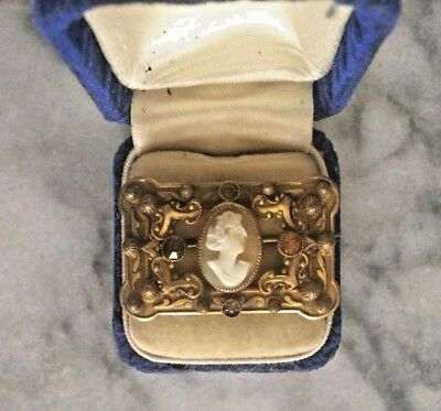 1905 ANTIQUE LADIES VICTORIAN EDWARDIAN 10k GOLD & CITRINE BAR PIN BROOCH CAMEO