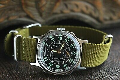 Rare Pobeda Aviator Watch Pilot Shturmanskie LACO Green Mechanical Military