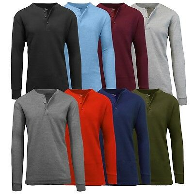 Mens Henley Thermal Shirts Undershirts Tee Long Sleeve Fitted Crew Neck NWT NEW