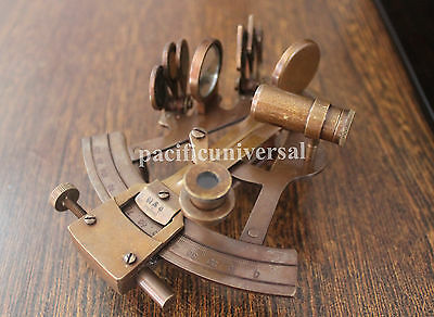 """4"""" Solid Brass Sextant Nautical Marine Astrolabe Maritime Gift Ship Instruments."""