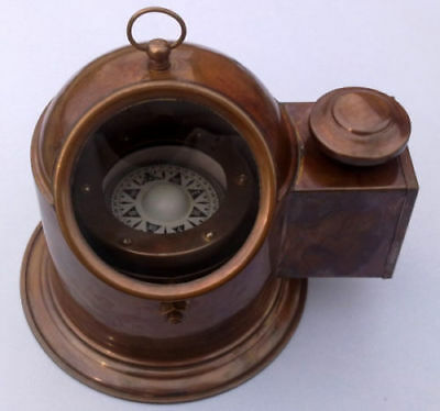 Antique Brass Reproduction Binnacle Compass w/ Oil Lamp / Nautical Boat Compass