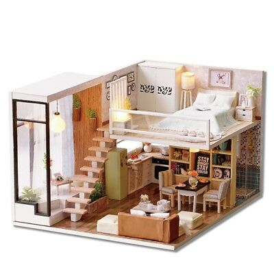 House Dollhouse Doll Furniture Kit Miniature Wooden Diy Vintage Large Kids Play