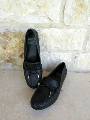44b58cde195 Mootsies Tootsies Momallory Women s Black Leather Slip-On Loafers Flats  Shoes 6M