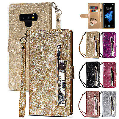 Leather Wallet Glitter Bling Zipper Stand Case Cover Fr Samsung Galaxy S8 Note9