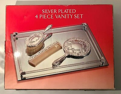 VINTAGE Godinger Silver Art Silver Plated 4-Piece Vanity Set- NEW IN BOX