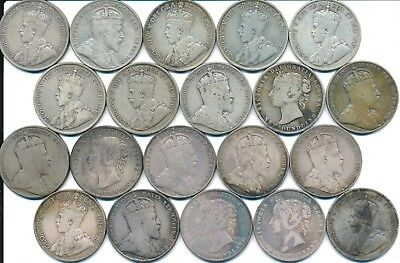 20 Old Silver Fifty 50 Cent Coins Newfoundland Canada 1894-1919