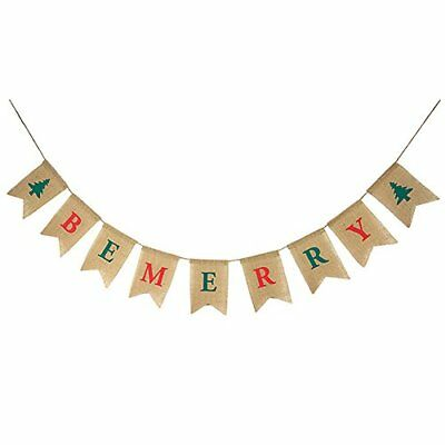 burlap christmas be merry banner merry christmas decoration christmas card - Merry Christmas Burlap Banner