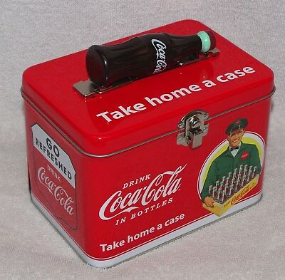 "Coca-Cola Train Case / Lunch Box Tin - ""drink Coca-Cola"" ""take Home A Case"" New!"