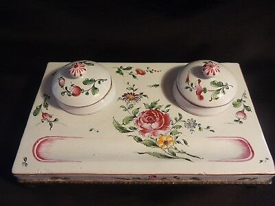 Antique 19th c Double Inkwell Inkstand French Faience Hand Painted