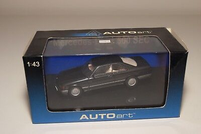 F Autoart 56211 Mercedes Benz W126 500 Sec Coupe Metallic Blue Black Mint Boxed