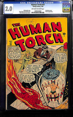 HUMAN TORCH #31 Golden Age Timely Captain America Submariner CGC 2.0 last Toro