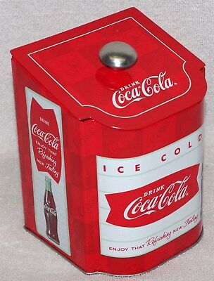 """Coke """"refreshing New Feeling"""" Coca-Cola Tea Caddy Tin With Sloped Lid, New!"""