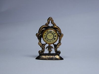 Lovely Dolls House Miniature 1:12 scale Metal Mantle Clock Black & Gold