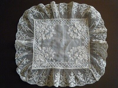 18c Old Antique Handkerchief Bridal White work Emb/ry Val lace around H done Fr