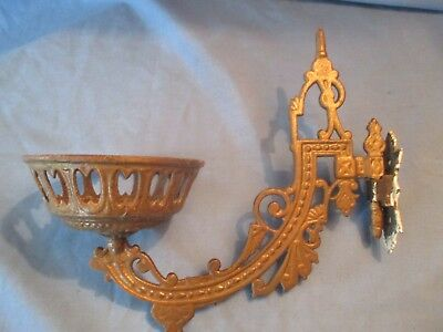 Antique Gold Painted Victorian Cast Iron Flower Pot or Candle Holder