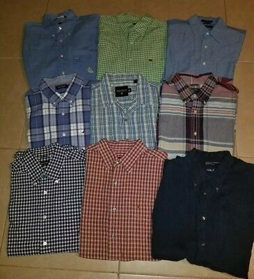 Lot of 9 Nautica Men's Casual Button Down Shirts Short Sleeve in size L