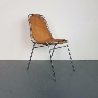 1970s BROWN LEATHER CHARLOTTE PERRIAND LES ARCS CHAIR MIDCENTURY VINTAGE #2484