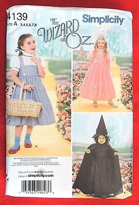 Simplicity 4139 Wizard of Oz Dorothy Sizes 3-8 Wicked Witch and Glinda Good Witch Halloween Costume Sewing Pattern for Children