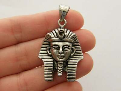 1 Tutankhamen Egyptian pharoah pendant antique silver tone stainless steel WT246