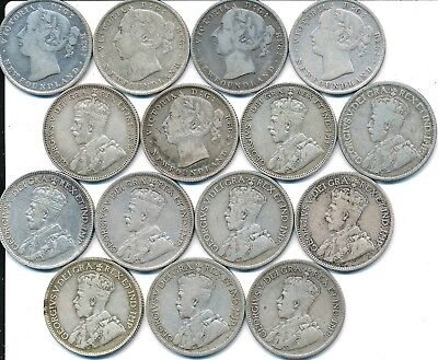 15 Old Silver 20 And 25 Cent Coins Newfoundland Canada 1865-1919
