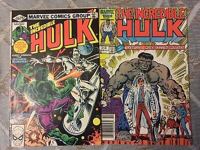 incredible hulk #250(silver surfer) #324(return grey hulk)