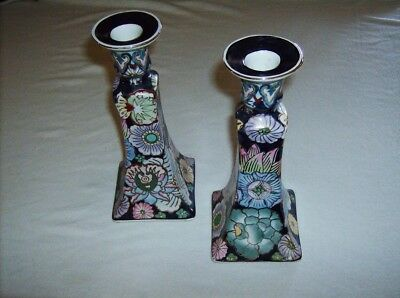 Vintage hand decorated Chinese porcelain 8.5 inch candlesticks candle holders pr